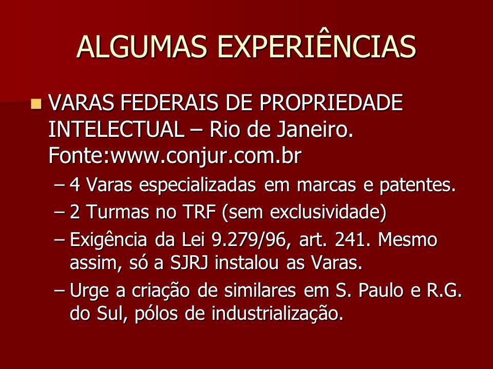 ALGUMAS EXPERIÊNCIAS VARAS FEDERAIS DE PROPRIEDADE INTELECTUAL – Rio de Janeiro. Fonte:www.conjur.com.br.