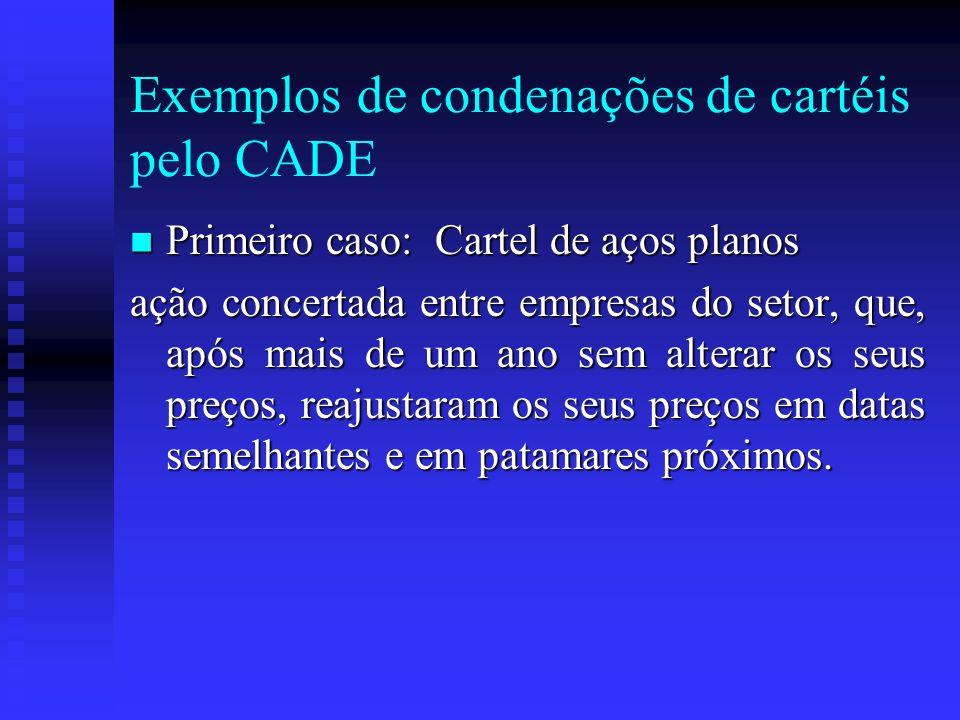 Exemplos de condenações de cartéis pelo CADE