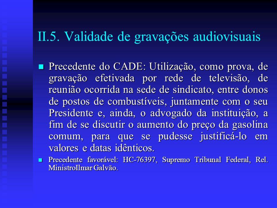 II.5. Validade de gravações audiovisuais