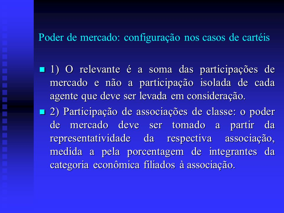 Poder de mercado: configuração nos casos de cartéis
