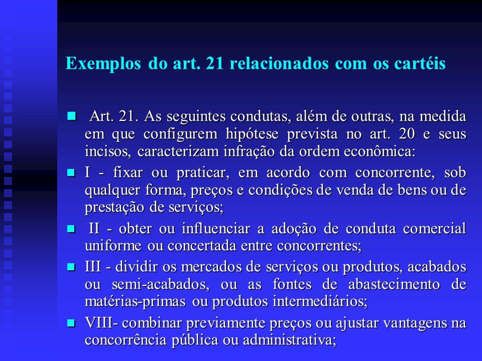 Exemplos do art. 21 relacionados com os cartéis