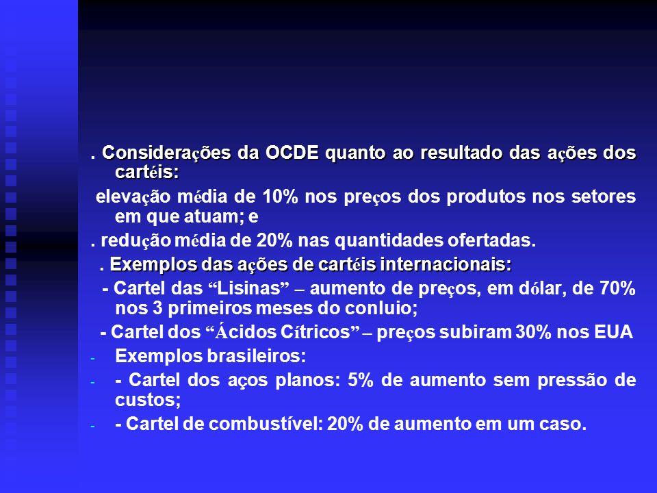 . Considerações da OCDE quanto ao resultado das ações dos cartéis: