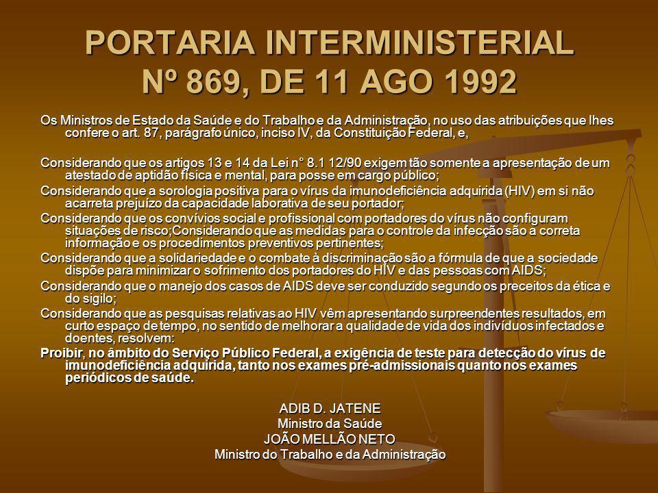 PORTARIA INTERMINISTERIAL Nº 869, DE 11 AGO 1992