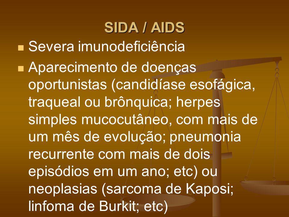 SIDA / AIDS Severa imunodeficiência.
