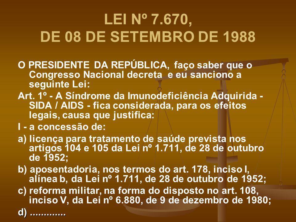 LEI Nº 7.670, DE 08 DE SETEMBRO DE 1988 O PRESIDENTE DA REPÚBLICA, faço saber que o Congresso Nacional decreta e eu sanciono a seguinte Lei: