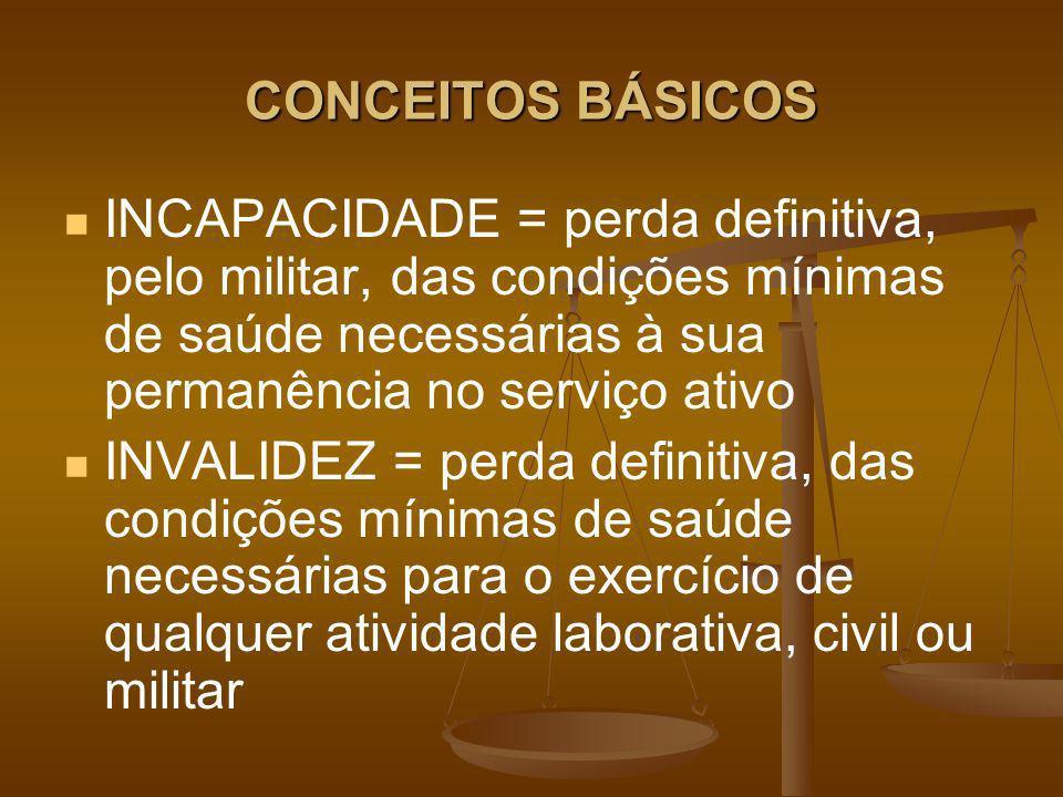 CONCEITOS BÁSICOS INCAPACIDADE = perda definitiva, pelo militar, das condições mínimas de saúde necessárias à sua permanência no serviço ativo.