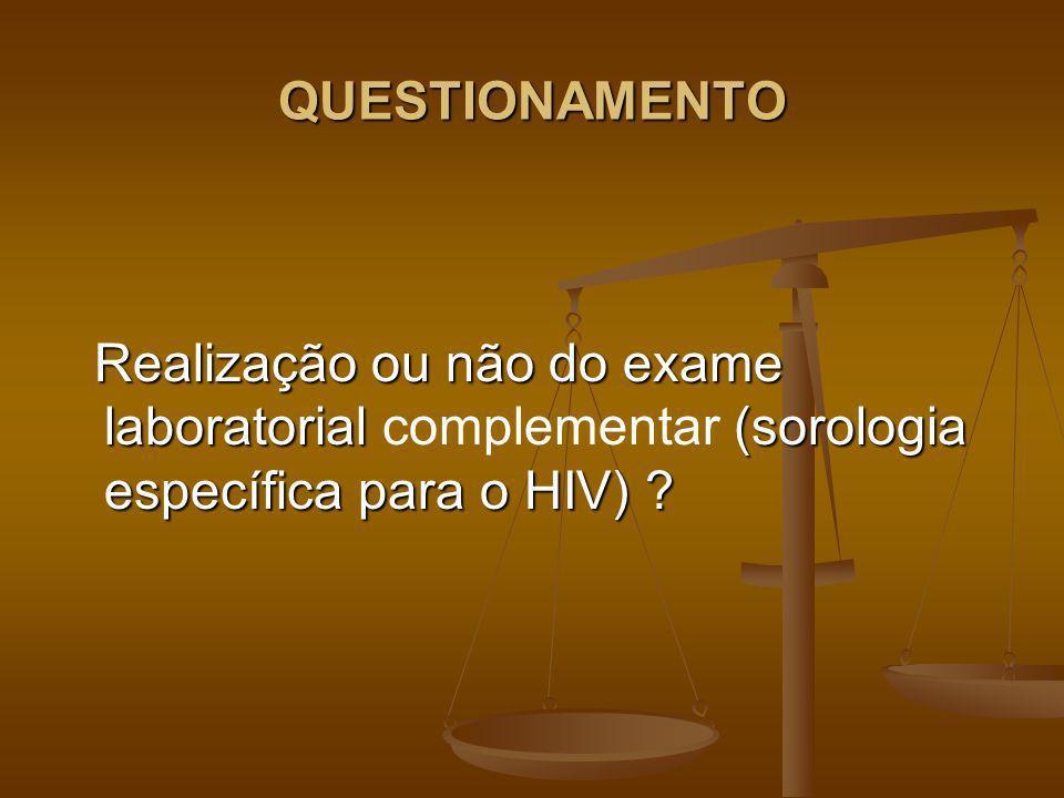 QUESTIONAMENTO Realização ou não do exame laboratorial complementar (sorologia específica para o HIV)