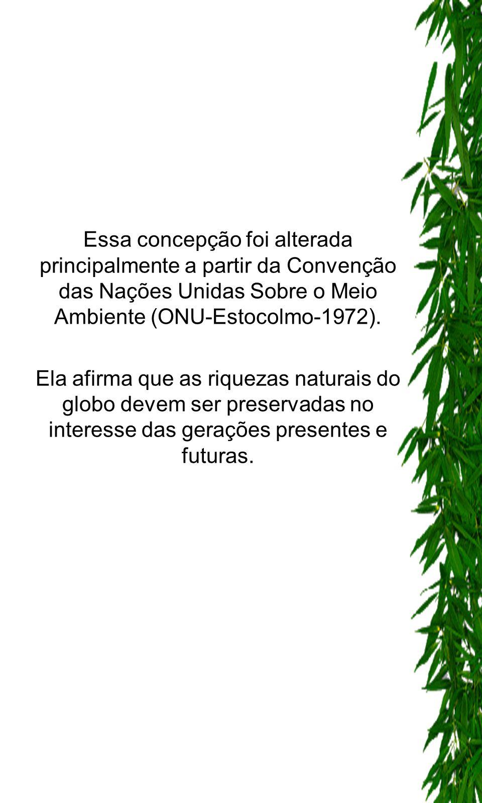Essa concepção foi alterada principalmente a partir da Convenção das Nações Unidas Sobre o Meio Ambiente (ONU-Estocolmo-1972).