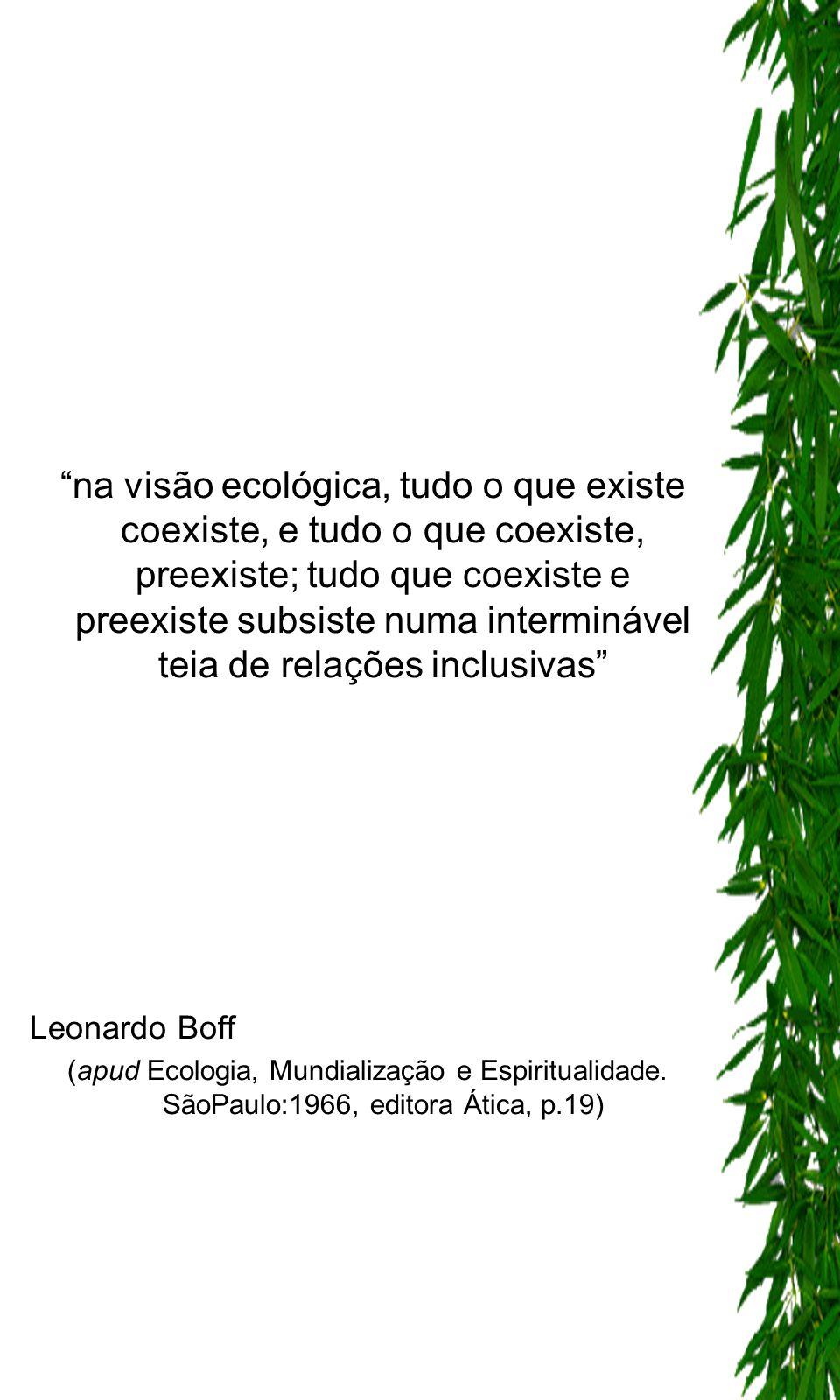 na visão ecológica, tudo o que existe coexiste, e tudo o que coexiste, preexiste; tudo que coexiste e preexiste subsiste numa interminável teia de relações inclusivas