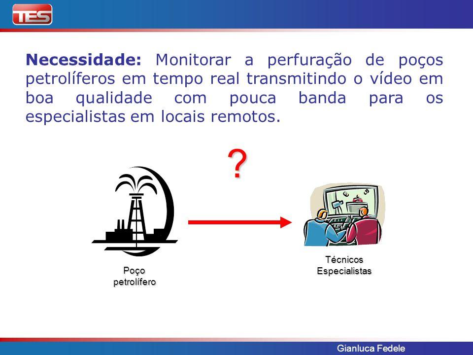 Necessidade: Monitorar a perfuração de poços petrolíferos em tempo real transmitindo o vídeo em boa qualidade com pouca banda para os especialistas em locais remotos.