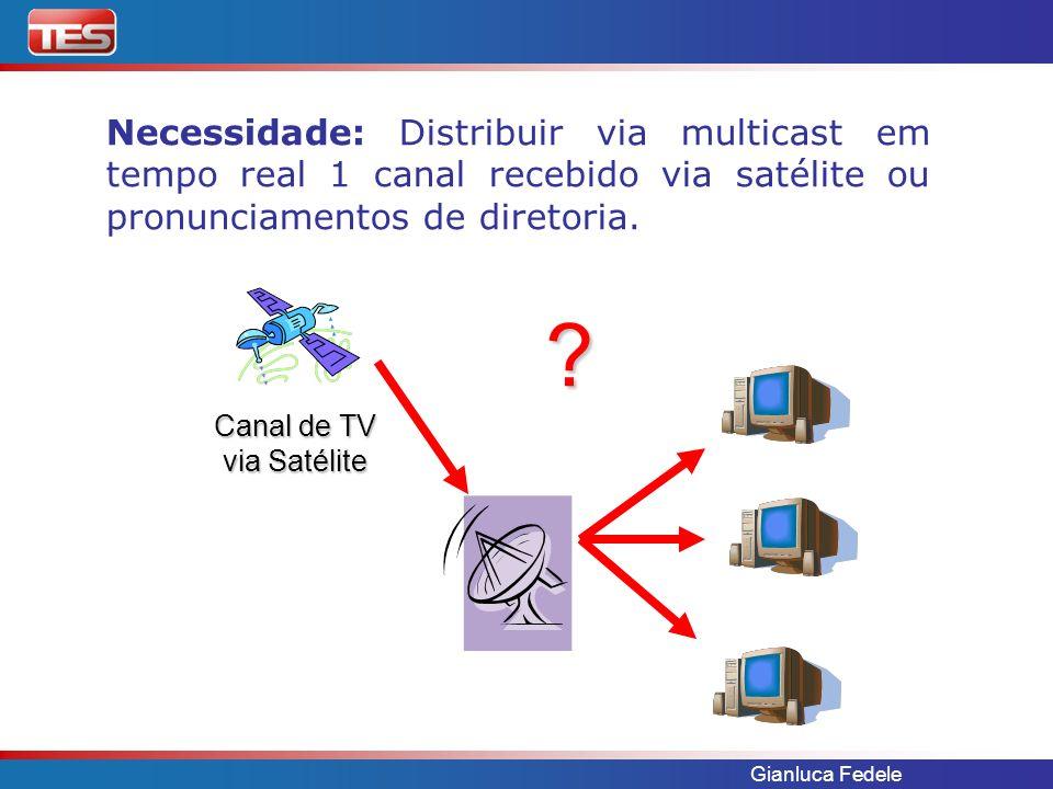 Necessidade: Distribuir via multicast em tempo real 1 canal recebido via satélite ou pronunciamentos de diretoria.