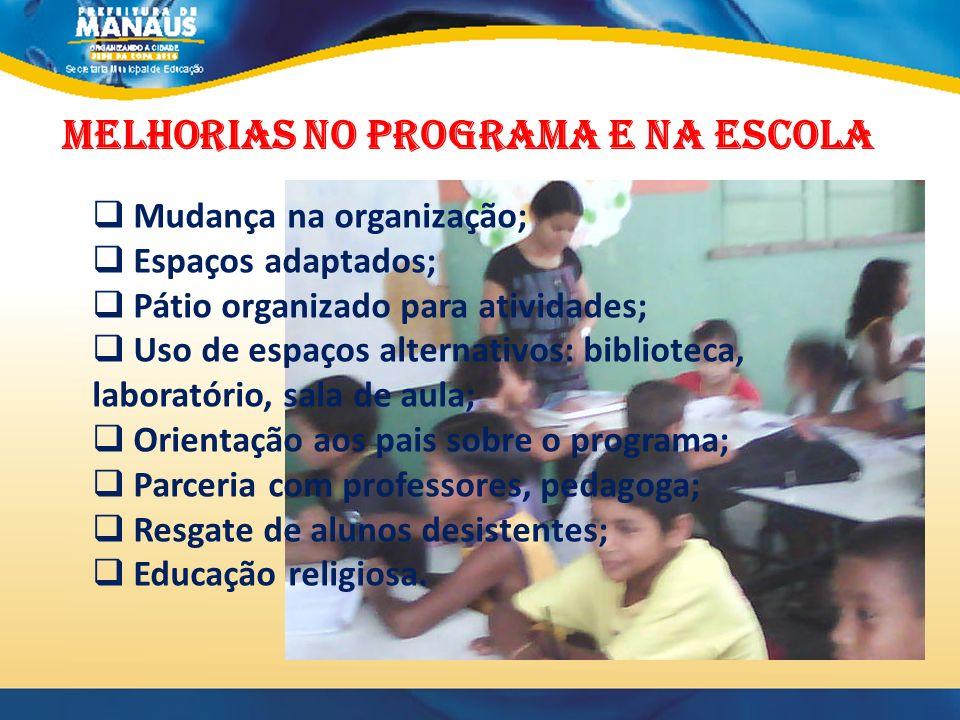 MELHORIAS NO PROGRAMA E NA ESCOLA