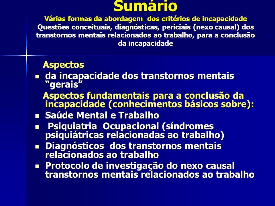 Sumário Várias formas da abordagem dos critérios de incapacidade Questões conceituais, diagnósticas, periciais (nexo causal) dos transtornos mentais relacionados ao trabalho, para a conclusão da incapacidade