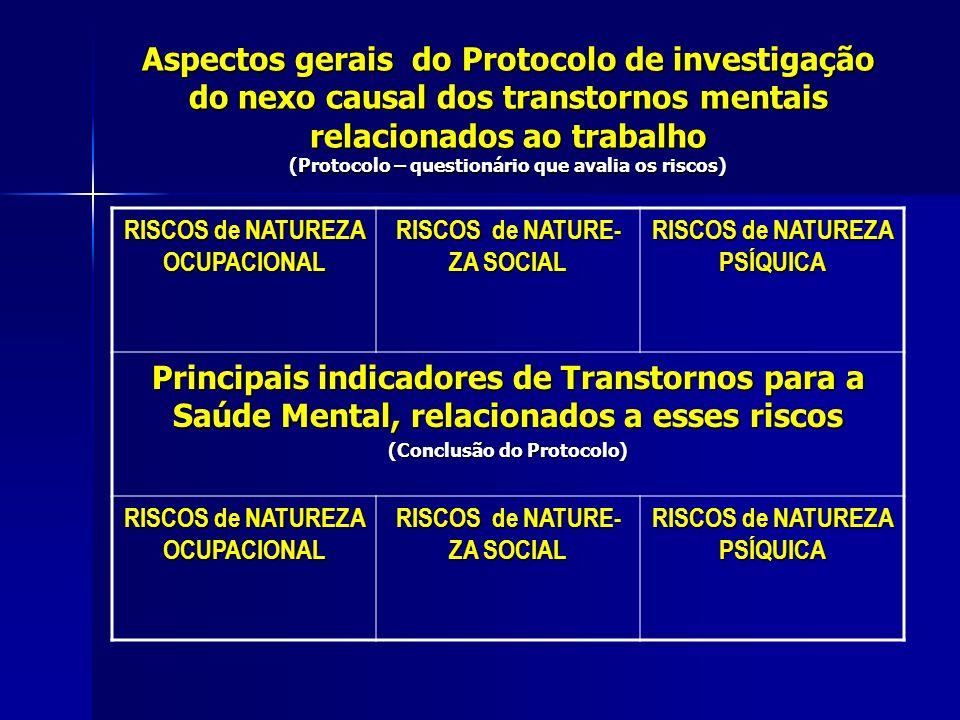 Aspectos gerais do Protocolo de investigação do nexo causal dos transtornos mentais relacionados ao trabalho (Protocolo – questionário que avalia os riscos)