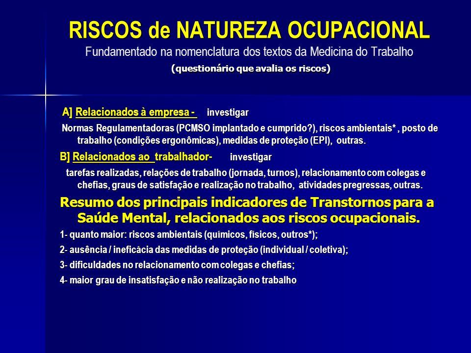 RISCOS de NATUREZA OCUPACIONAL Fundamentado na nomenclatura dos textos da Medicina do Trabalho (questionário que avalia os riscos)