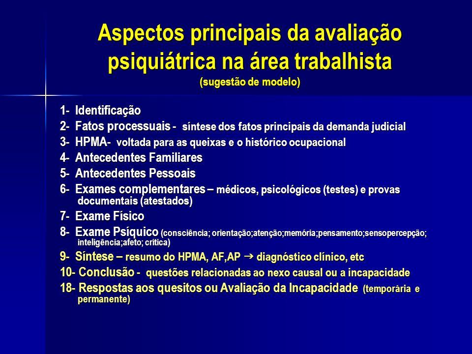 Aspectos principais da avaliação psiquiátrica na área trabalhista (sugestão de modelo)