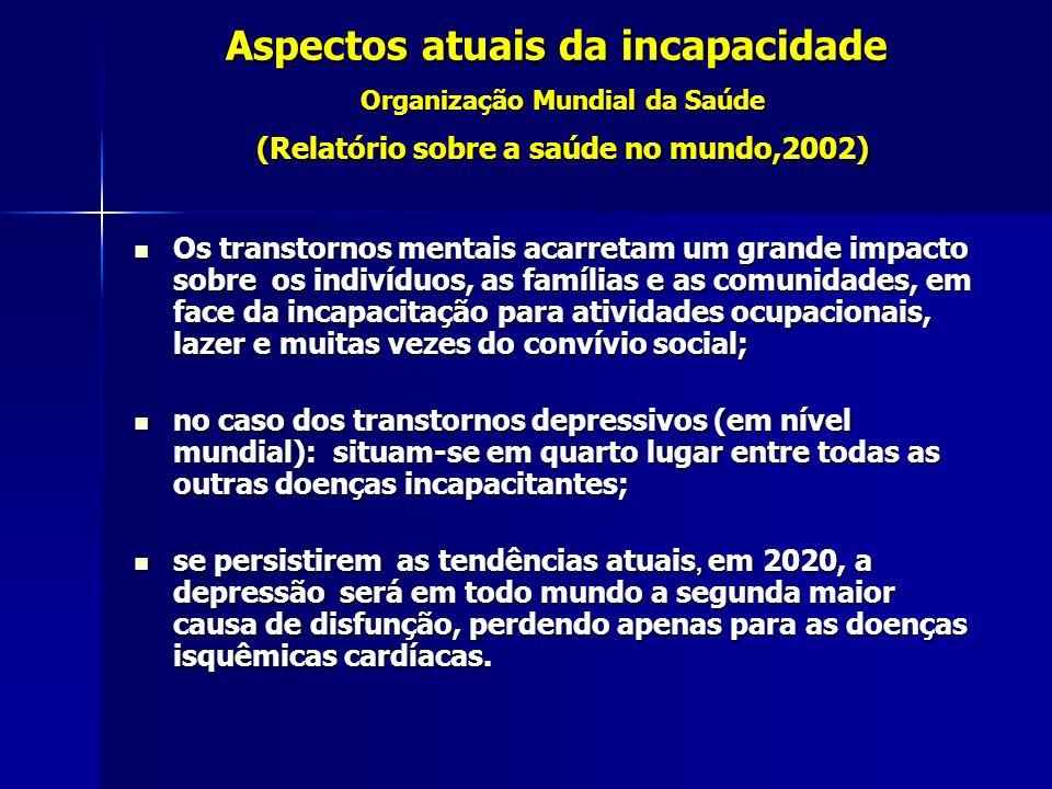 Aspectos atuais da incapacidade Organização Mundial da Saúde (Relatório sobre a saúde no mundo,2002)