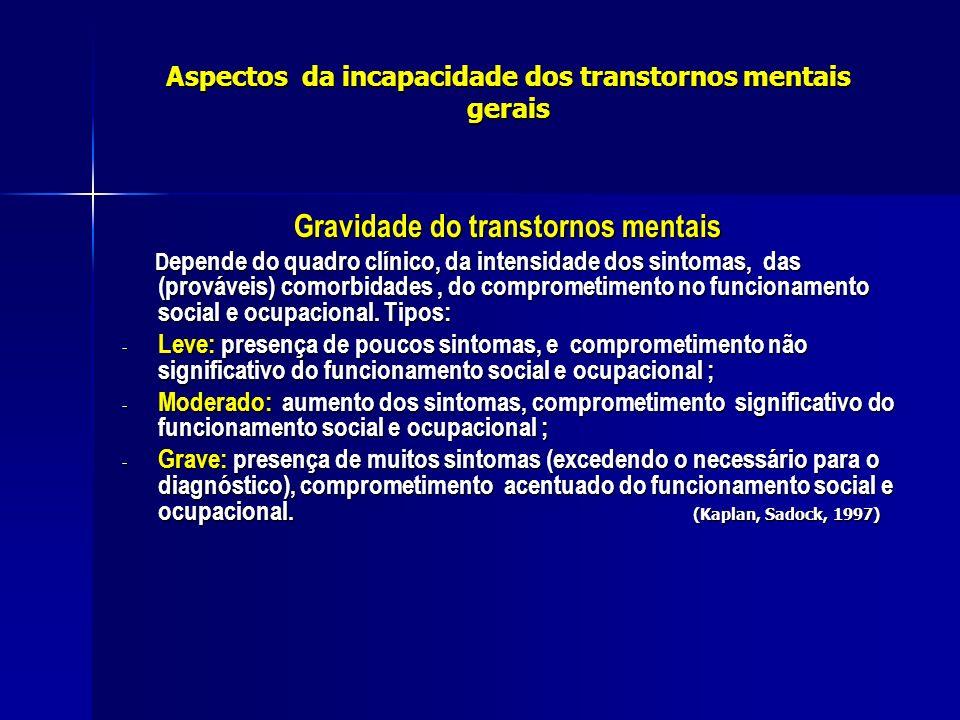 Aspectos da incapacidade dos transtornos mentais gerais