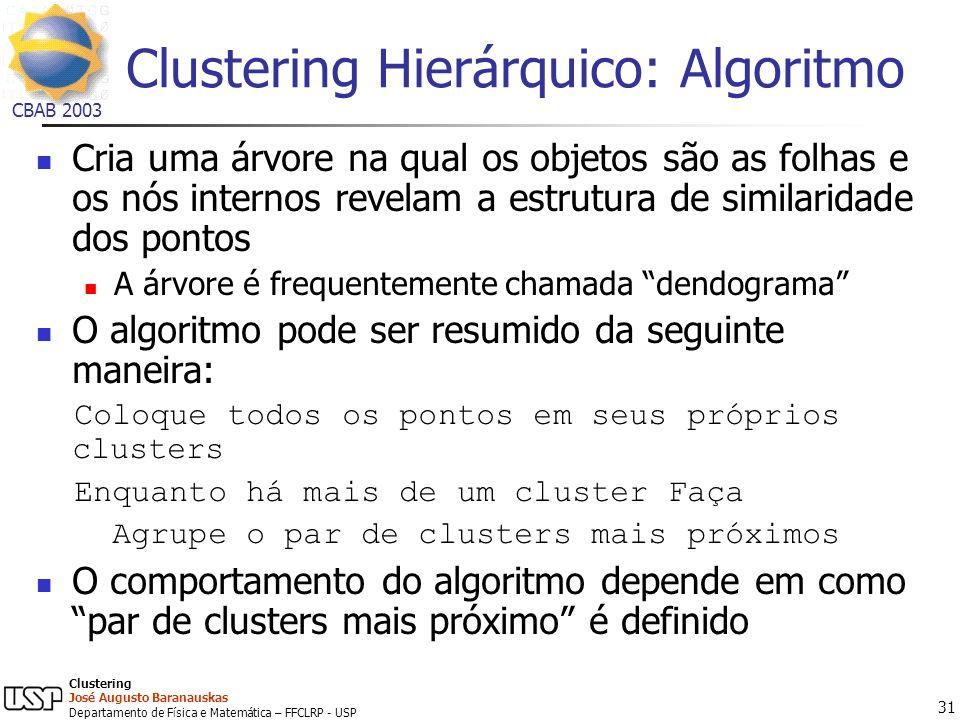 Clustering Hierárquico: Algoritmo