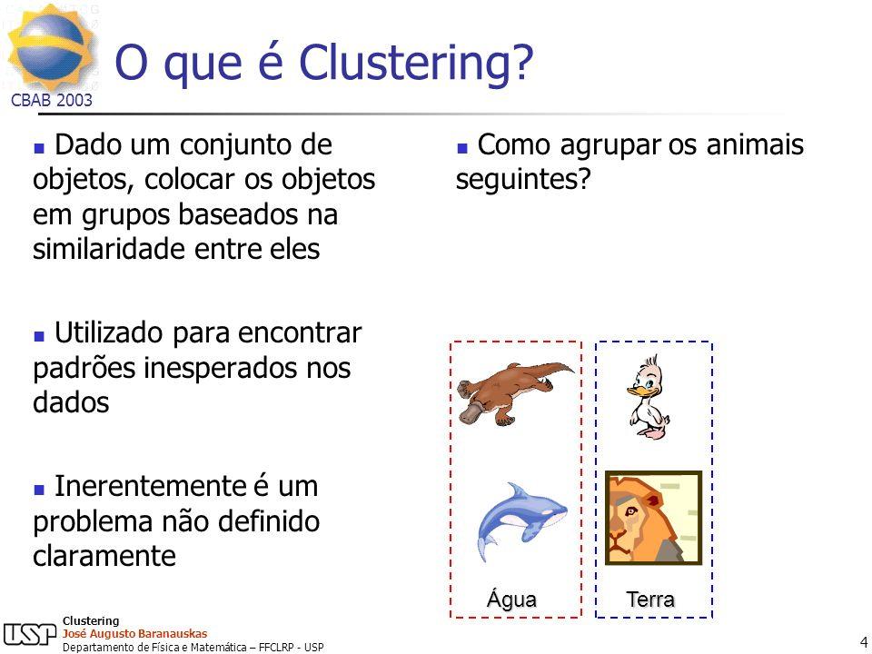 O que é Clustering Dado um conjunto de objetos, colocar os objetos em grupos baseados na similaridade entre eles.