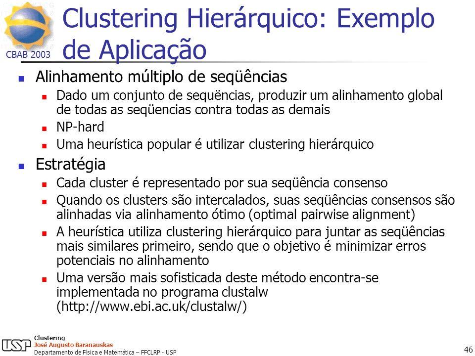 Clustering Hierárquico: Exemplo de Aplicação