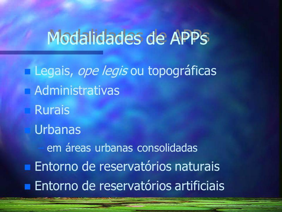 Modalidades de APPs Legais, ope legis ou topográficas Administrativas