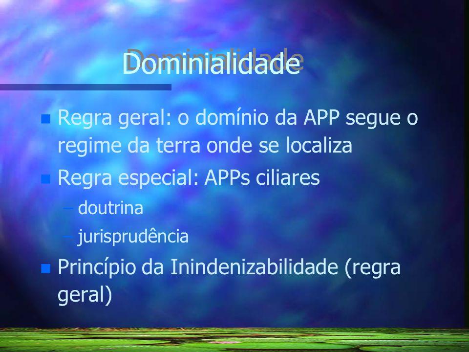 Dominialidade Regra geral: o domínio da APP segue o regime da terra onde se localiza. Regra especial: APPs ciliares.