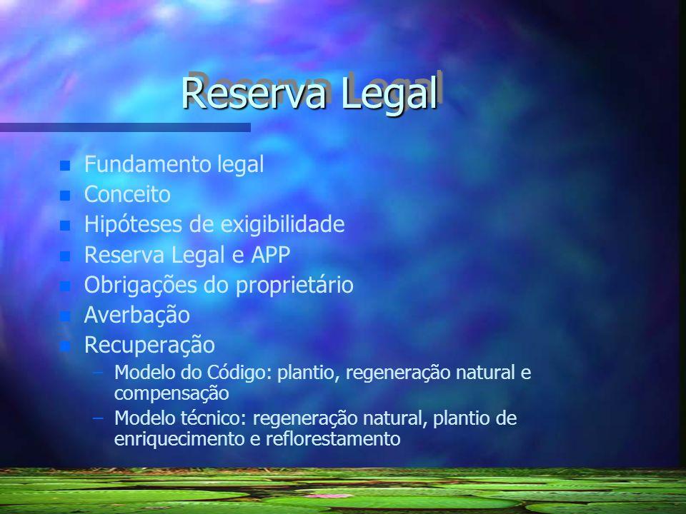 Reserva Legal Fundamento legal Conceito Hipóteses de exigibilidade