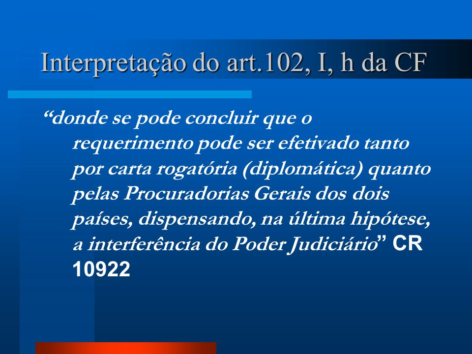 Interpretação do art.102, I, h da CF