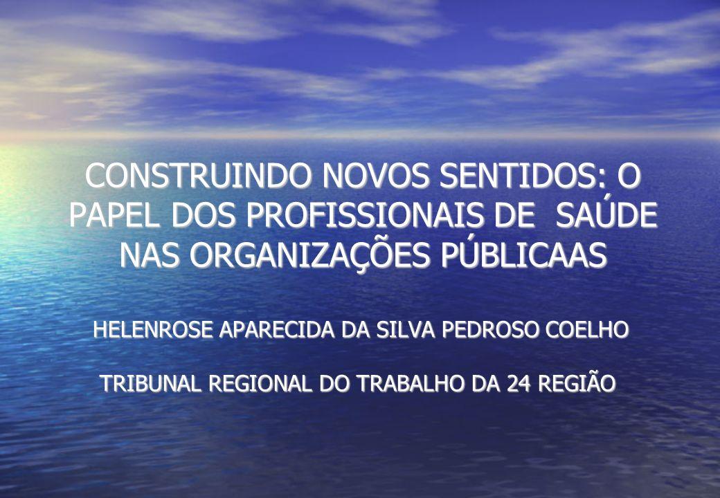 CONSTRUINDO NOVOS SENTIDOS: O PAPEL DOS PROFISSIONAIS DE SAÚDE NAS ORGANIZAÇÕES PÚBLICAAS