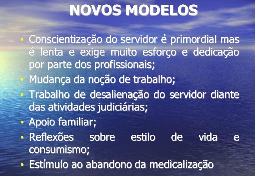 NOVOS MODELOS Conscientização do servidor é primordial mas é lenta e exige muito esforço e dedicação por parte dos profissionais;