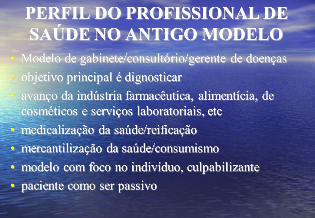 PERFIL DO PROFISSIONAL DE SAÚDE NO ANTIGO MODELO