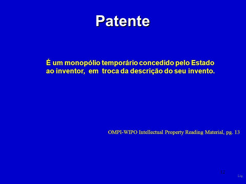 Patente É um monopólio temporário concedido pelo Estado