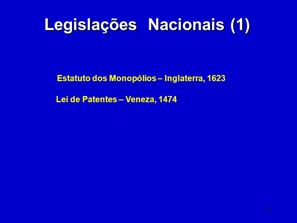 Legislações Nacionais (1)