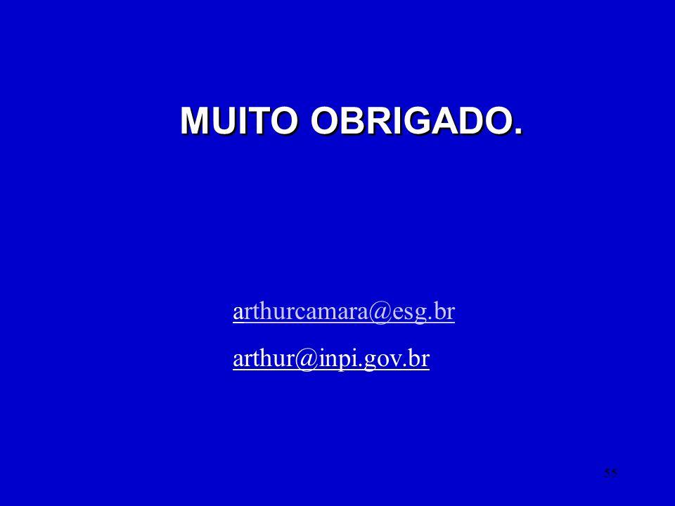 MUITO OBRIGADO. arthurcamara@esg.br arthur@inpi.gov.br
