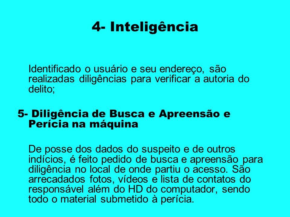4- InteligênciaIdentificado o usuário e seu endereço, são realizadas diligências para verificar a autoria do delito;