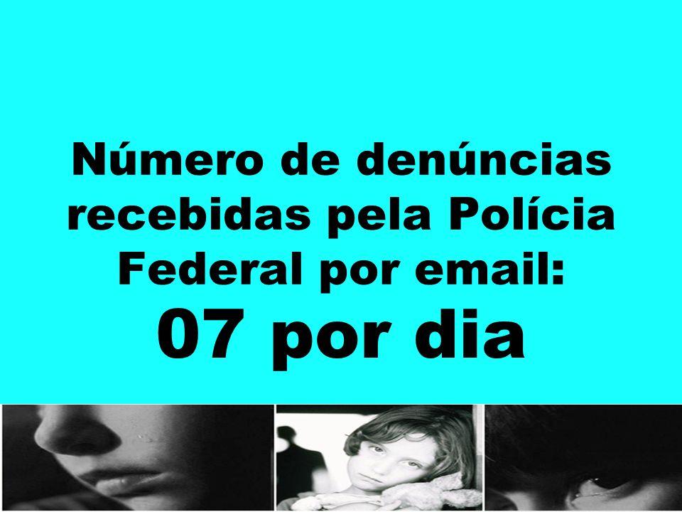 Número de denúncias recebidas pela Polícia Federal por email: