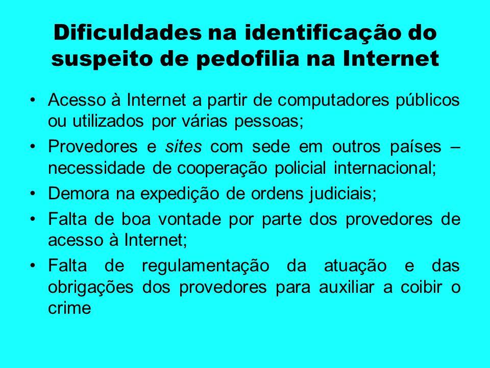Dificuldades na identificação do suspeito de pedofilia na Internet