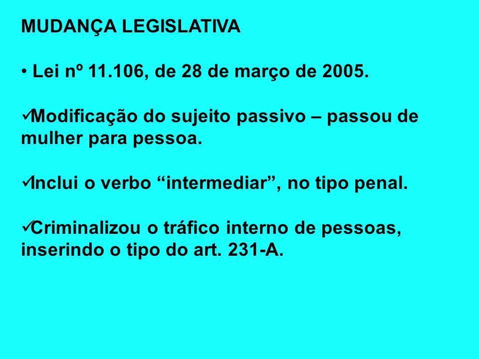 MUDANÇA LEGISLATIVALei nº 11.106, de 28 de março de 2005. Modificação do sujeito passivo – passou de mulher para pessoa.