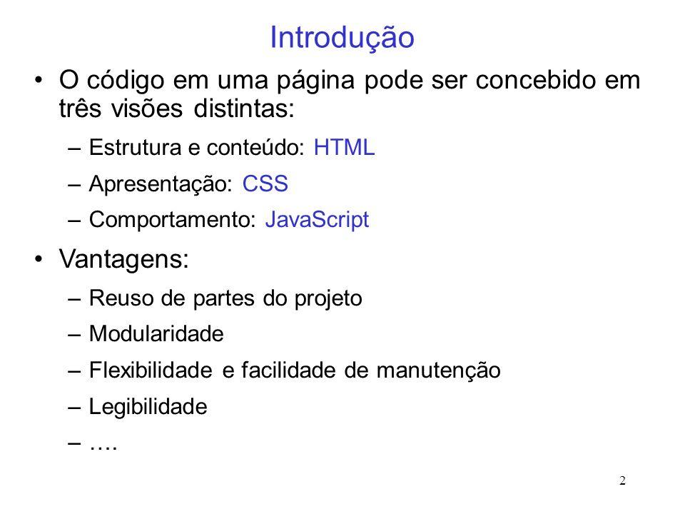 IntroduçãoO código em uma página pode ser concebido em três visões distintas: Estrutura e conteúdo: HTML.