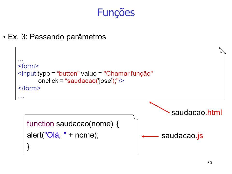 Funções Ex. 3: Passando parâmetros saudacao.html