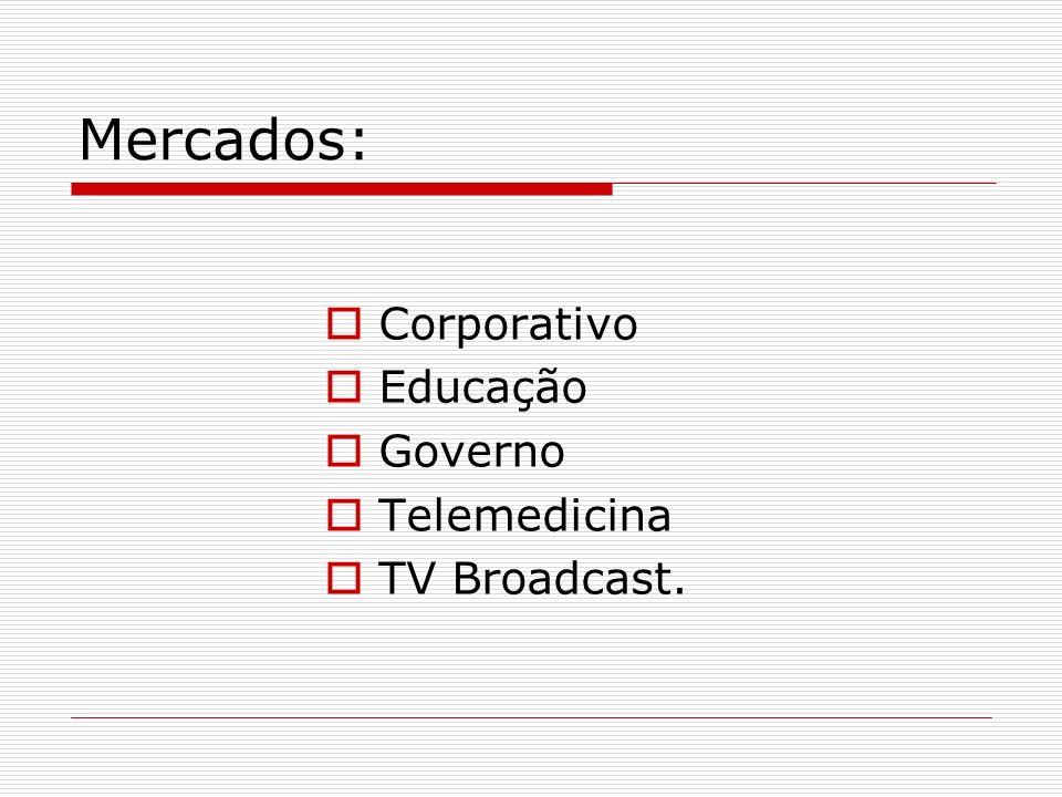 Mercados: Corporativo Educação Governo Telemedicina TV Broadcast.