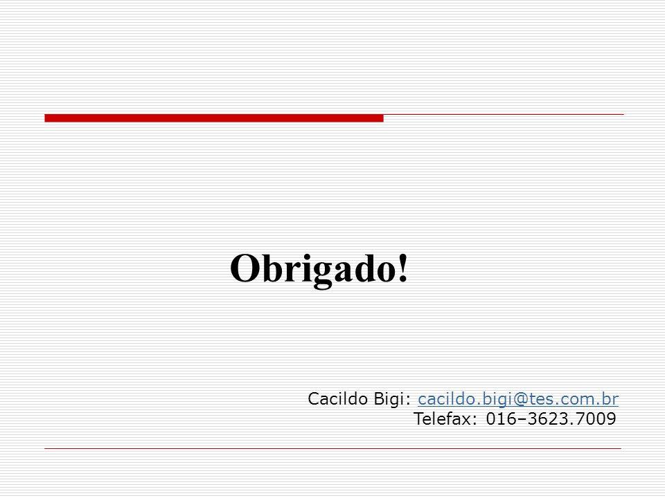 Obrigado! Cacildo Bigi: cacildo.bigi@tes.com.br Telefax: 016–3623.7009