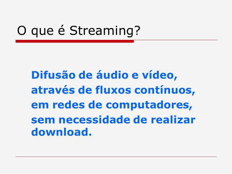 O que é Streaming Difusão de áudio e vídeo,