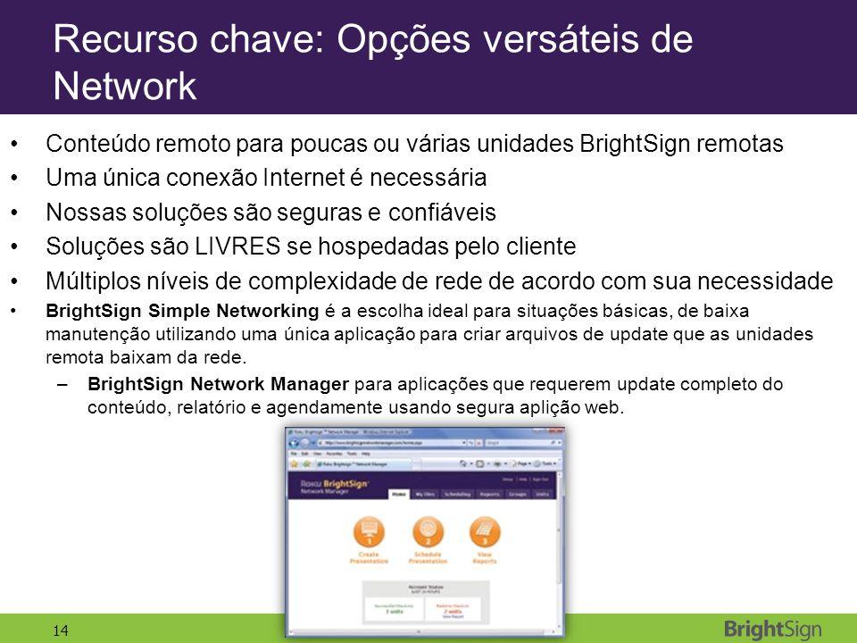 Recurso chave: Opções versáteis de Network