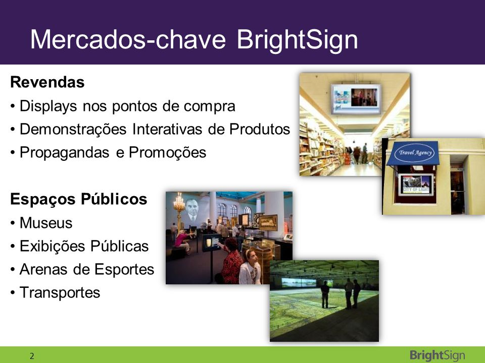 Mercados-chave BrightSign