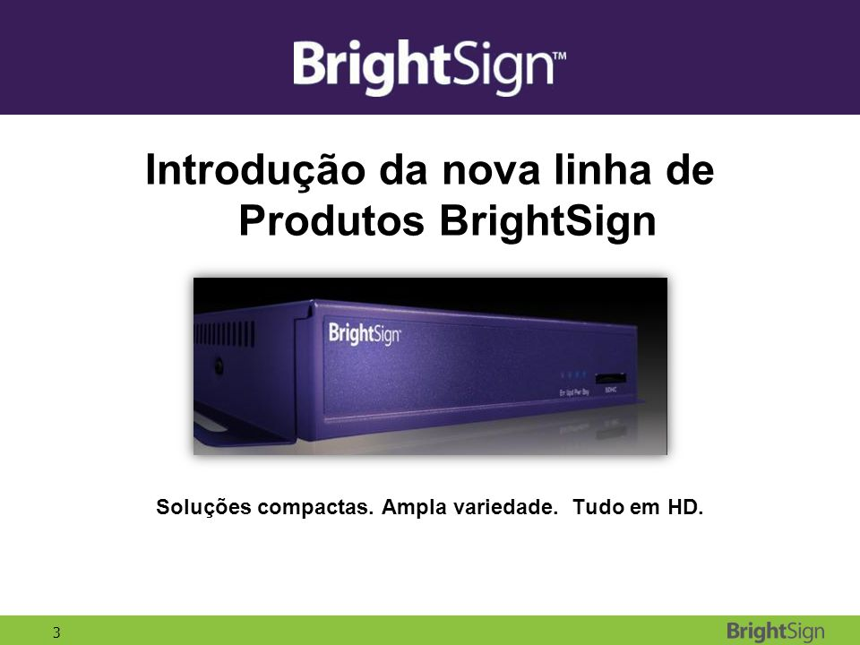 Introdução da nova linha de Produtos BrightSign