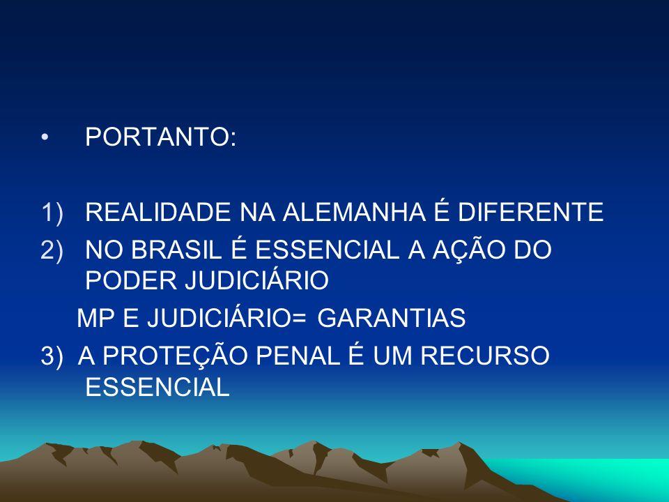 PORTANTO: REALIDADE NA ALEMANHA É DIFERENTE. NO BRASIL É ESSENCIAL A AÇÃO DO PODER JUDICIÁRIO. MP E JUDICIÁRIO= GARANTIAS.