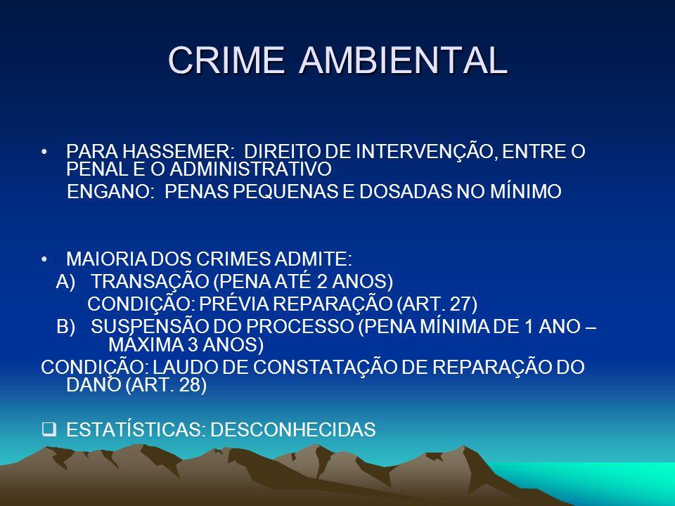 CRIME AMBIENTAL PARA HASSEMER: DIREITO DE INTERVENÇÃO, ENTRE O PENAL E O ADMINISTRATIVO. ENGANO: PENAS PEQUENAS E DOSADAS NO MÍNIMO.