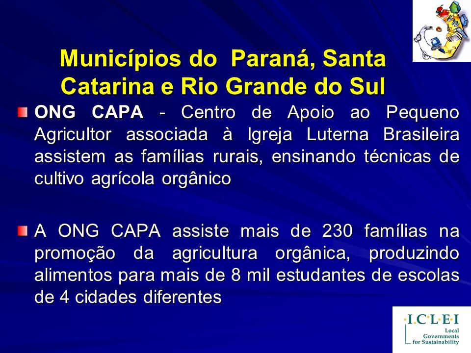 Municípios do Paraná, Santa Catarina e Rio Grande do Sul